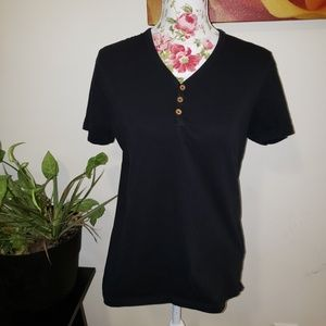Cotton short sleeved Henley tee. Size L
